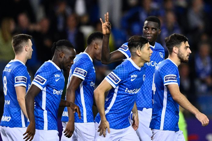 Genk's Paul Onuachu celebrates after scoring the 3-0 during a soccer match between KRC Genk and RFC Seraing, Sunday 26 September 2021 in Genk, on day 9 of the 2021-2022 'Jupiler Pro League' first division of the Belgian championship. BELGA PHOTO JOHAN EYCKENS