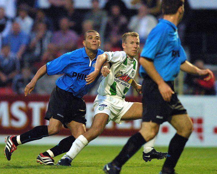 Arjen Robben (midden) voor FC Groningen in 2001.  Beeld VI IMAGES / Dennis Beek