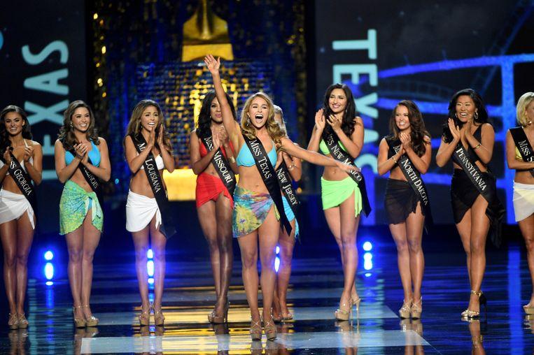 De Miss America-verkiezing met, zo blijkt nu, de laatste badpakkenronde vond plaats in Atlantic City, september vorig jaar. Beeld Reuters