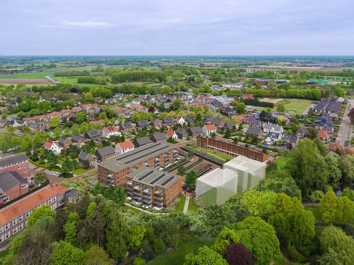 Op de plek van de 'glazen blokken' komt het nieuwe appartementengebouw van BrabantWonen, in samenwerking met Brabant Zorg in plan Kloosterkwartier in Veghel.