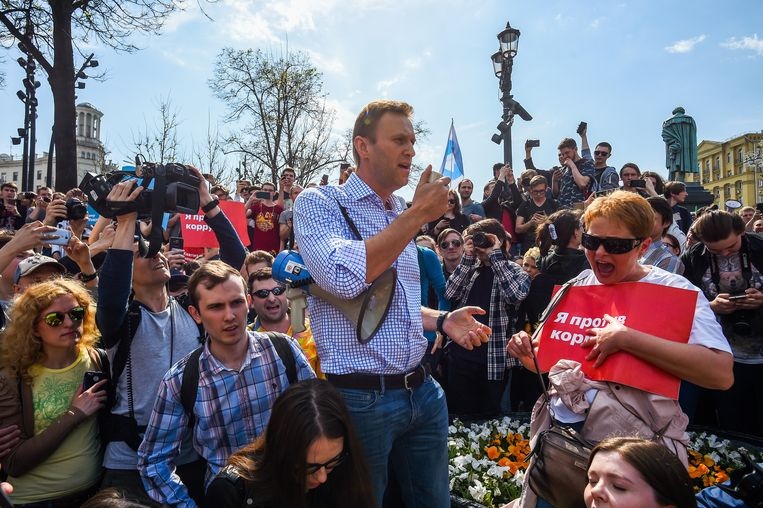 Aleksej Navalny kort voor zijn aanhouding. Beeld EPA