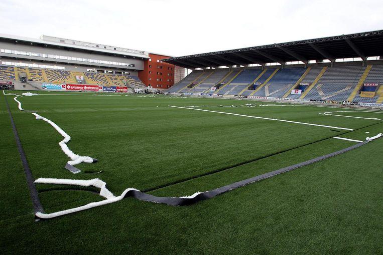 Het nieuwe stadioncomplex in Deinze zou eruit gaan zien als 'Staaien', de thuisbasis van ex-eersteklasser Sint-Truiden. Naast een nieuwe tribune is er onder meer ook een hotel (het rode gebouw achteraan).
