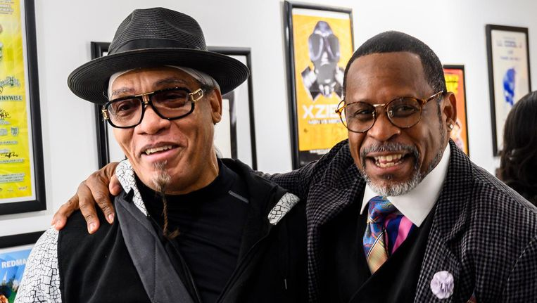 Melvin Glover, aka Melle Mel en Guy O'Brien, aka Master Gee van The Sugarhill Gang Beeld ANP