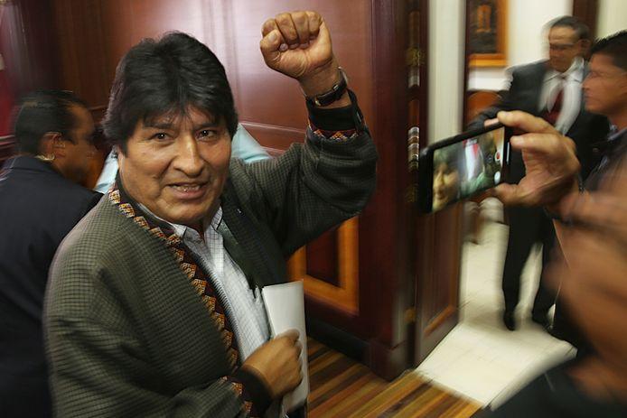 De voormalige Boliviaanse president Evo Morales na een persconferentie eerder deze week in Mexico-Stad.