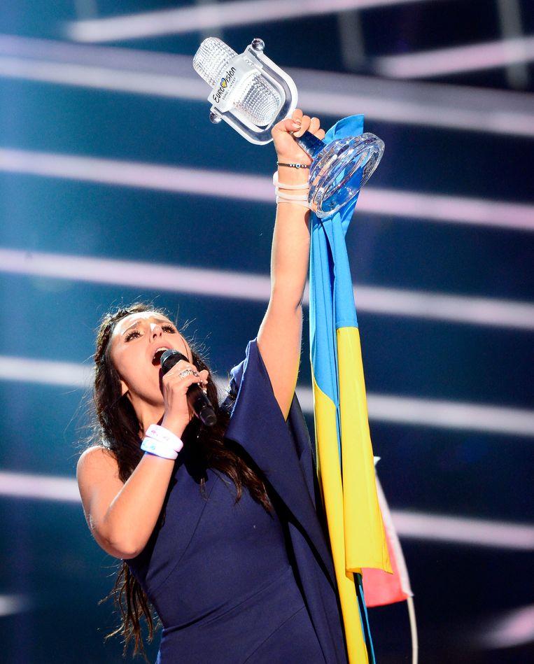 Jamala vertegenwoordigt Oekraïne met het nummer '1944' en wint. Beeld Hollandse Hoogte / AFP