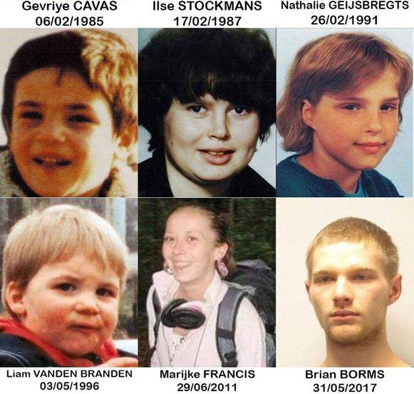 Deze zes langdurige verdwijningsdossiers staan nog open in ons land.