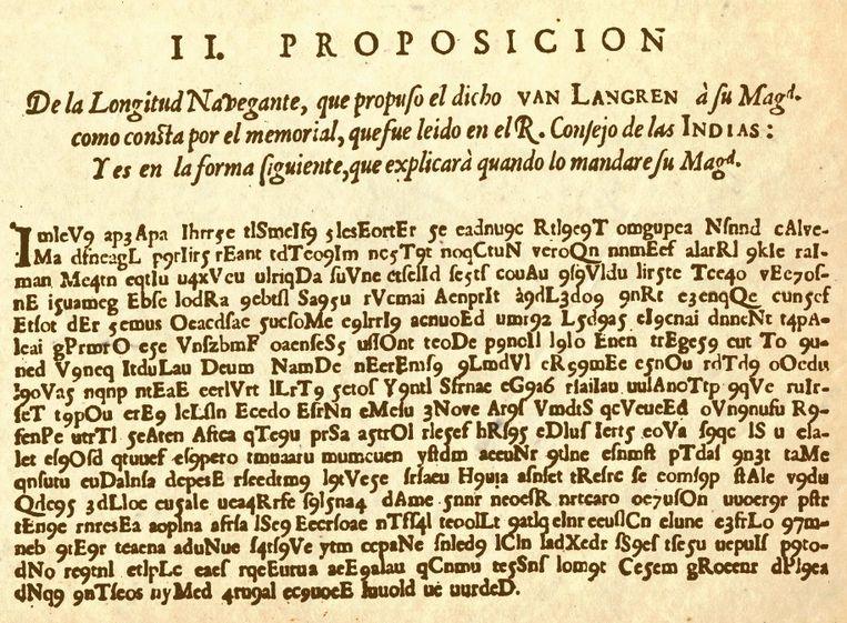 De 'Code van Langren' die na 400 jaar ontcijferd werd.  Beeld RV