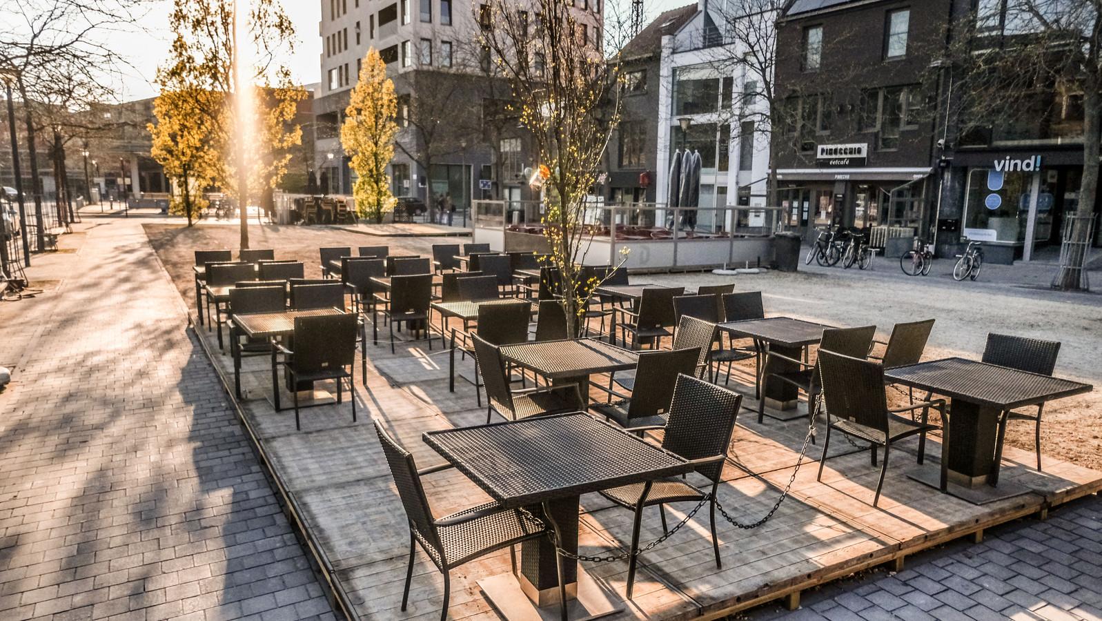 Nieuwe terrasjes op de Veemarkt in Kortrijk