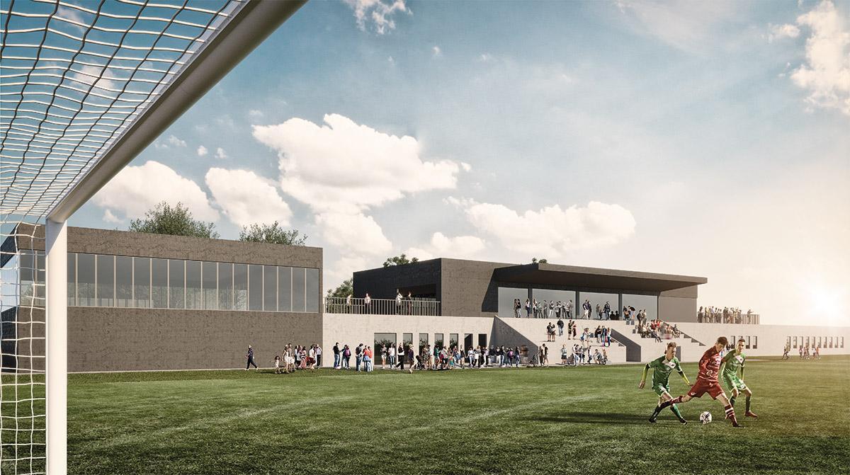 Een blik op het nieuwe voetbalstadion van KVV Zelzate.