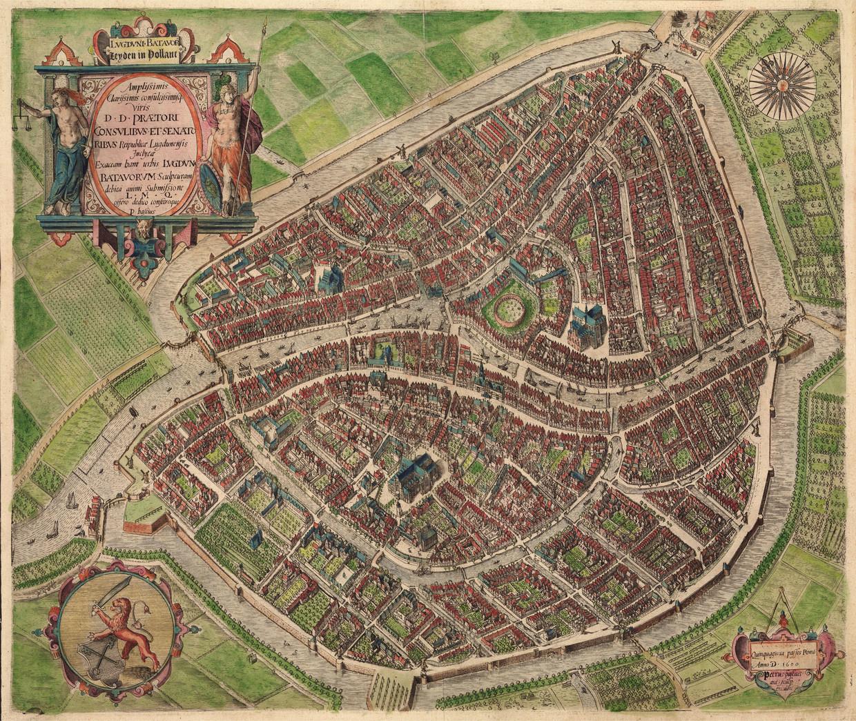 Kaart van Leiden in 1600 Beeld de Volkskrant kaartbron