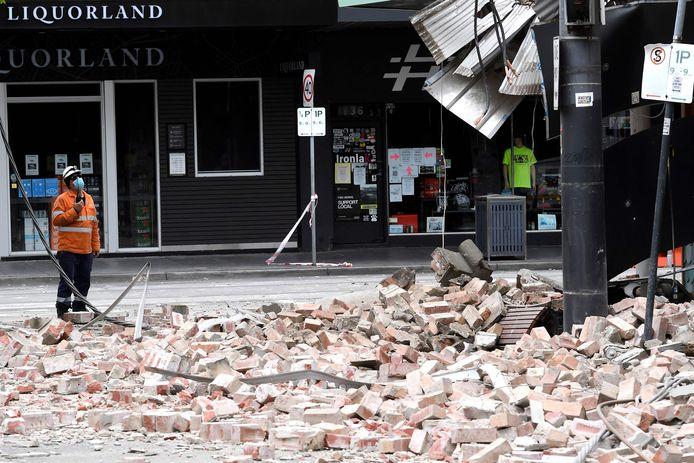 Schade in Melbourne na de aardbeving.