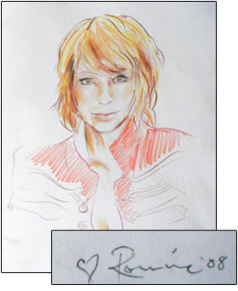 De schets die Ron maakte voor Ekaterina's twintigste verjaardag. Beeld UNKNOWN