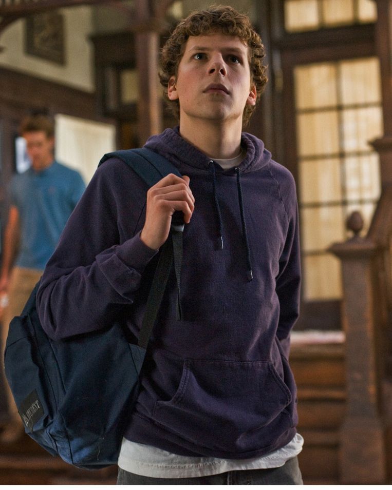 Jesse Eisenberg als Mark Zuckerberg in The Social Network (2010). Beeld