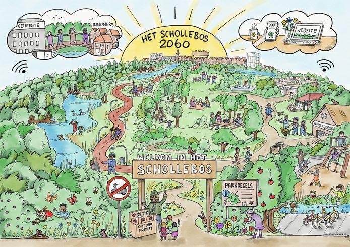 Hoe moet het Capelse Schollebos er in 2060 uitzien? Het plan voor de toekomst van het stadsdeelpark in Capelle aan den IJssel is door de raad goedgekeurd.