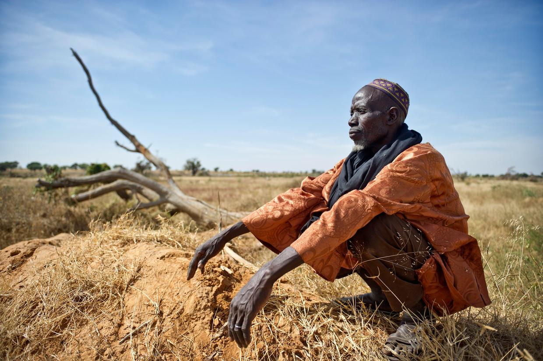Boer in Mali kijkt uit over verschraalde landbouwgrond waar alle bomen zijn gekapt.