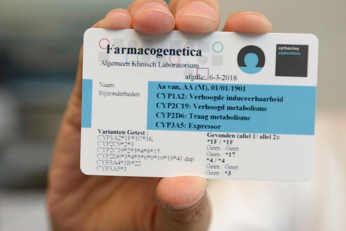 Een DNA-paspoort is een kaartje met het farmacogenetisch profiel. Dit geeft aan hoe het lichaam reageert op verschillende medicijnen.