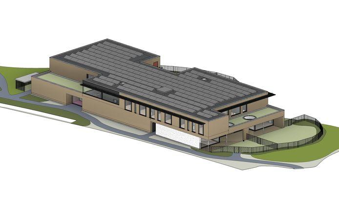 Een afbeelding van hoe het TheA-gebouw van AZ Sint-Maarten eruit zal gaan zien.
