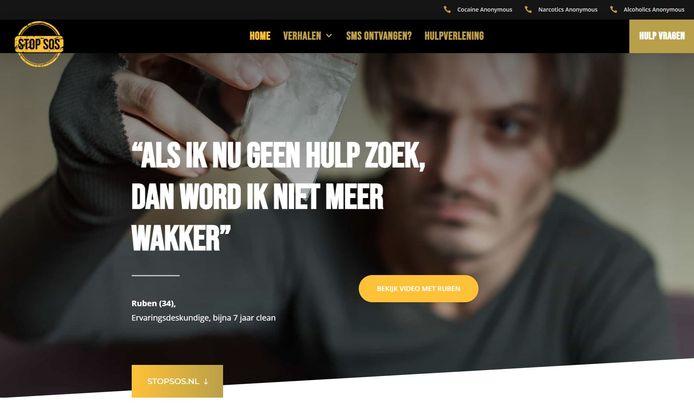 Een screenshot van Stopsos.nl, de site van de gemeente Zwolle, politie Oost-Nederland, Openbaar Ministerie Oost-Nederland en RIEC Oost-Nederland om drugsgebruikers aan te spreken.
