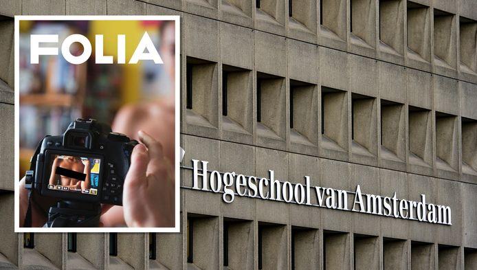 De Hogeschool van Amsterdam heeft het studentenblad Folia van een aantal locaties verwijderd omdat er blote borsten op de cover staan.(Redactie AD heeft foto bewerkt)