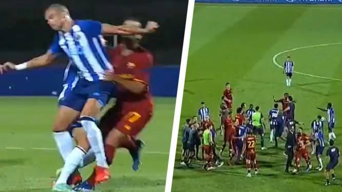 Poppen aan het dansen in oefenduel tussen Roma en Porto na snoeiharde beuk Pepe