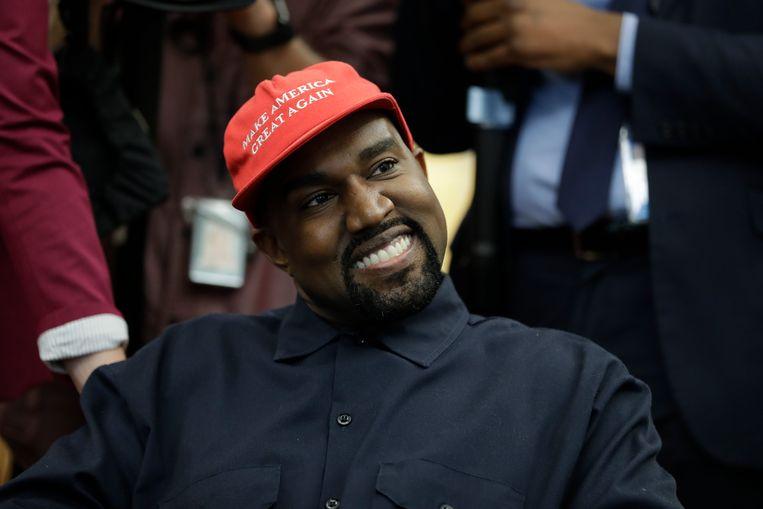 Kanye West tijdens zijn bezoek aan het Witte Huis in 2018. Beeld AP