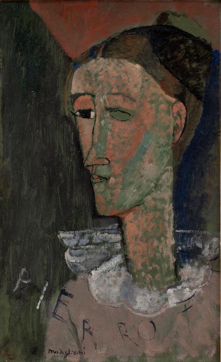 Een zelfportret als Pierrot uit 1915. Beeld rv