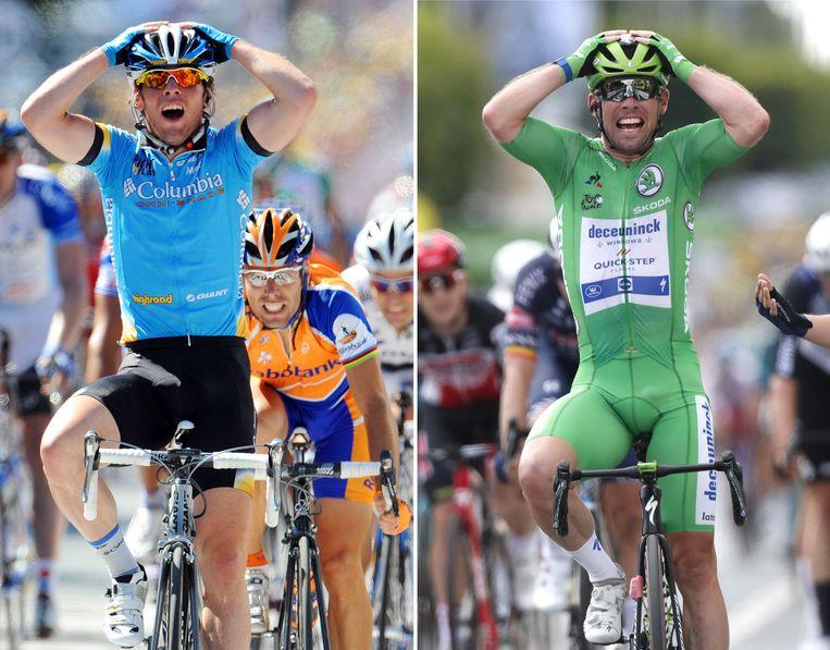 In Châteauroux won Mark Cavendish in 2008, 2011 en gisteren lukte dat de Brit voor de derde keer. Beeld AFP