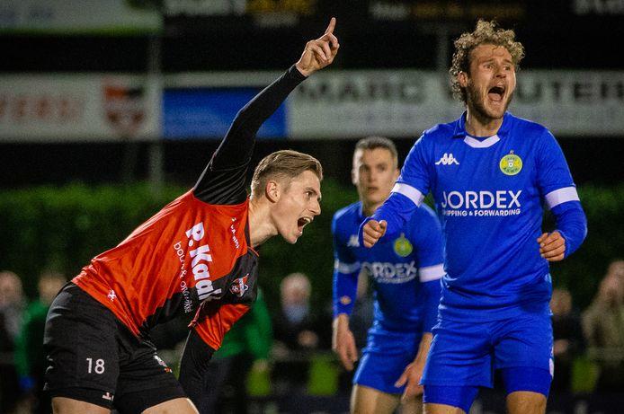Dennis Janssen juicht na zijn enige competitiedoelpunt van De Treffers, thuis tegen ASWH vorig seizoen.