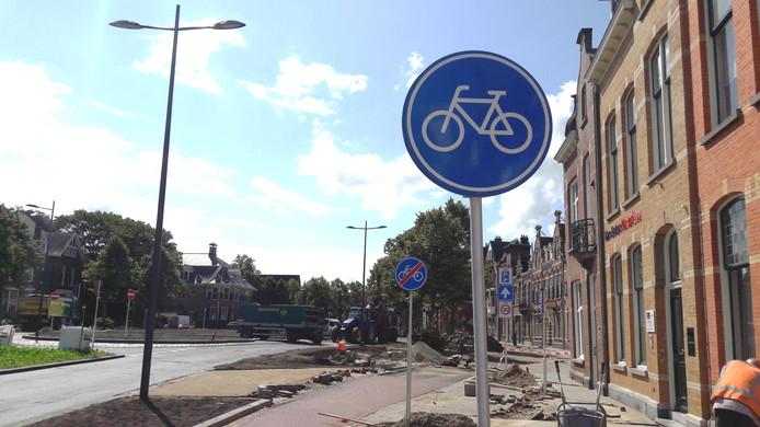 Een kort fietspad op het Julianaplein