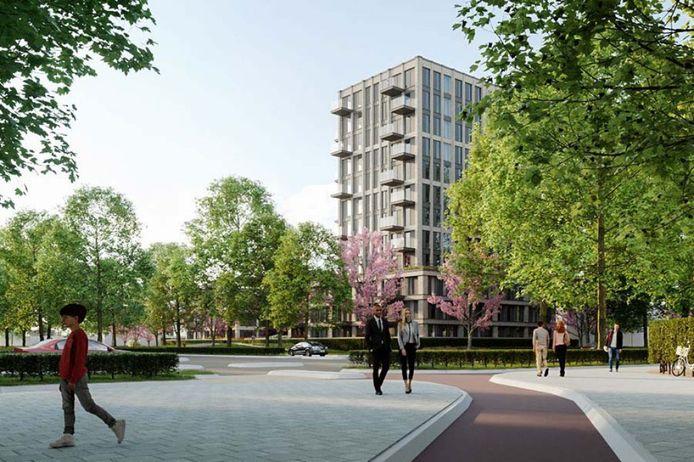 Met name de hoogste toren van het bouwplan op de hoek van de Bossebaan en Burgemeester Van Hoofflaan in Veldhoven stuit in de buurt op veel weerstand.