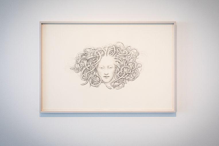 Juul Kraijer,  Untitled, houtskool op paper, 63 x 96,15 cm, 2020 in De Ketelfactory in Schiedam. Beeld Natascha Libbert