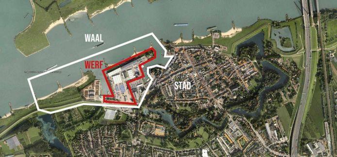 De buitendijkse locatie in Zaltbommel, waar de nieuwe woonwijk Buitenstaat gaat verrijzen. Het terrein grenst aan de vesting.