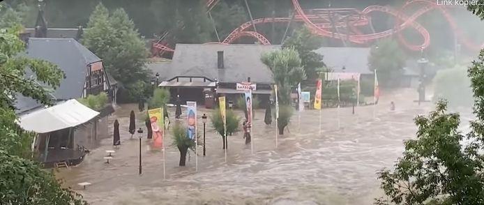 Plopsa Coo in Stavelot (provincie Luik) is helemaal ondergelopen.