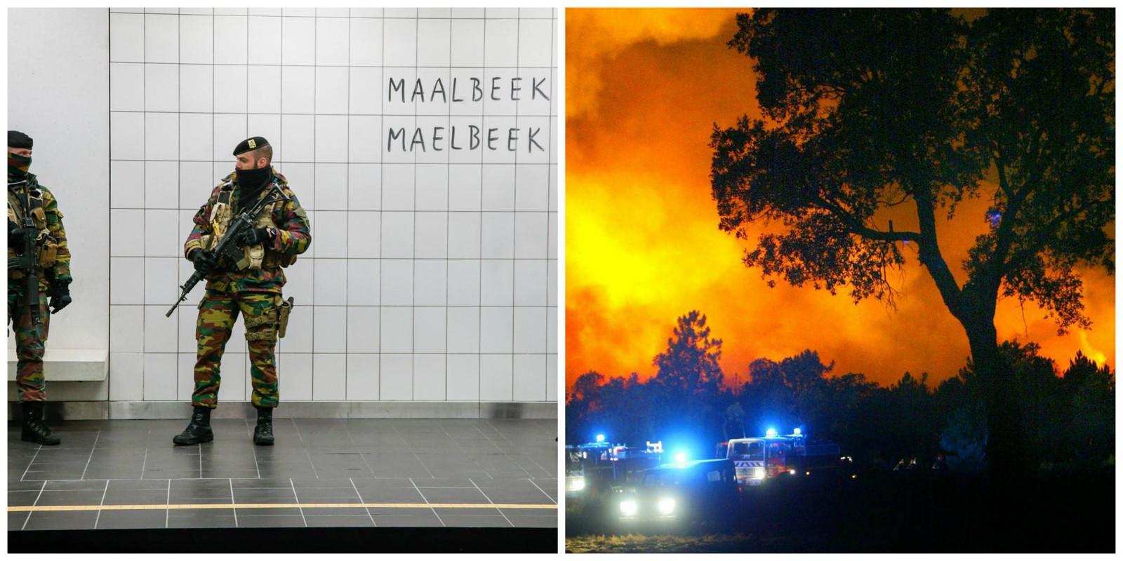 Burgers in Europa hebben het meeste schrik van terreuraanslagen gepleegd door IS (zoals die van 22 maart vorig jaar in metrostation Maalbeek en Brussels Airport) en de klimaatverandering (met hier de bosbranden in het zuiden van Frankrijk).