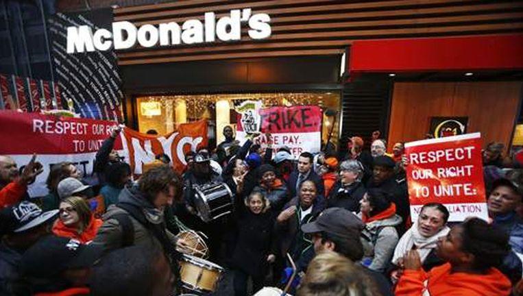 Protest aan een New Yorks McDonald's-filiaal, foto uit december 2013