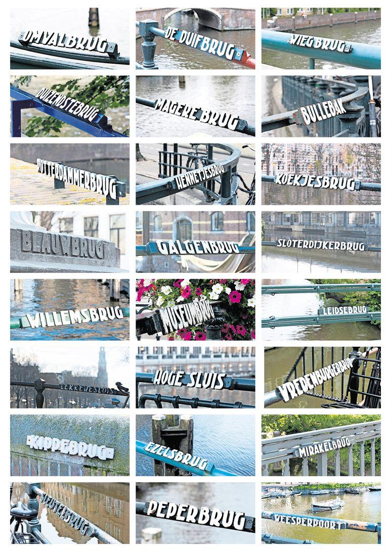 Van de 829 bruggen die Amsterdam telt, blijken er vele in slechte staat te verkeren, maar daar zie je niets van als je erop staat. Fotograaf Mirjam Schiethart richtte haar lens op de karakteristieke bordjes. Beeld Mirjam Schiethart