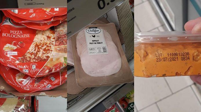 Vermeiren nam deze foto's op 27/7/2021. De drie pizza's zichtbaar op de foto waren reeds vervallen op 20/7/2021. De kipfilet reeds op 24/7/2021. Het potje beleg verviel al op 23/7/2021.