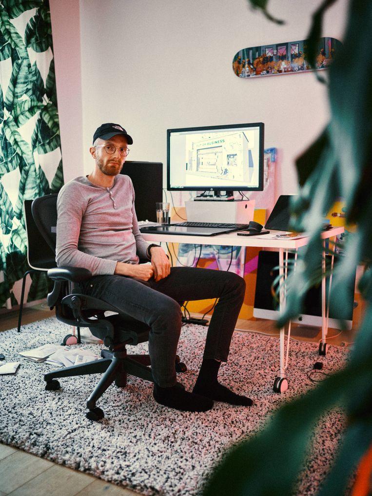 Bert Dries, alias Musketon, verkoopt zijn werk met een zogenaamde NFT, een non-fungible token. Beeld Thomas Sweertvaegher