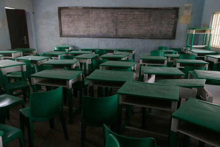 Een klaslokaal van de school van de vrijgelaten scholieren. Beeld AP