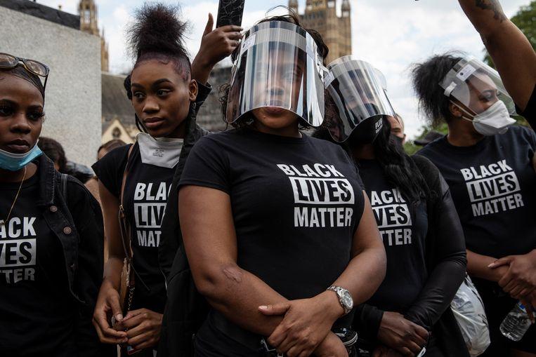 Black Lives Matterprotest in Londen in juni 2020, nadat de Amerikaan George Floyd door politiegeweld om het leven kwam.  Beeld Getty
