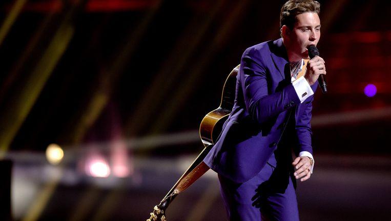 Douwe Bob vrijdag tijdens de repetitie van het Eurovisiesongfestival in Stockholm. Beeld ANP