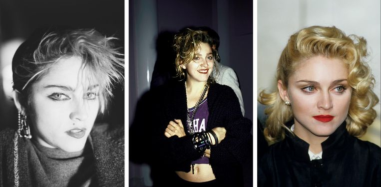 Madonna in 1982, 1984, 1986 (vlnr) Beeld Getty Images