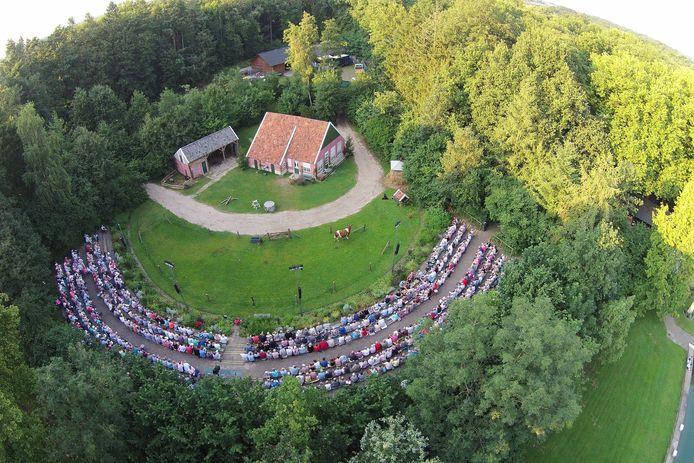 Het Borculose openluchttheater 't Galgenveld van bovenaf gezien.