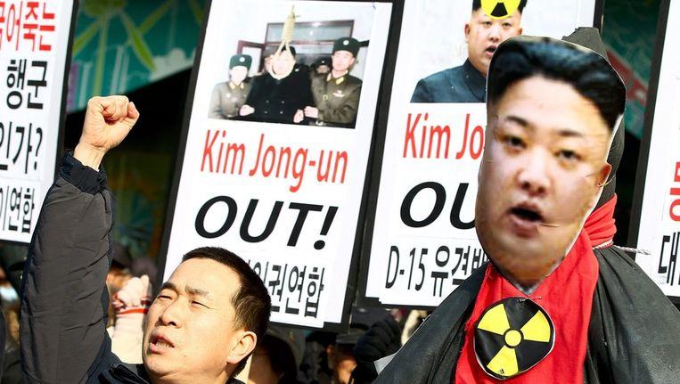 Protest in Zuid-Korea tegen het nucleaire programma van Noord-Korea. Beeld epa