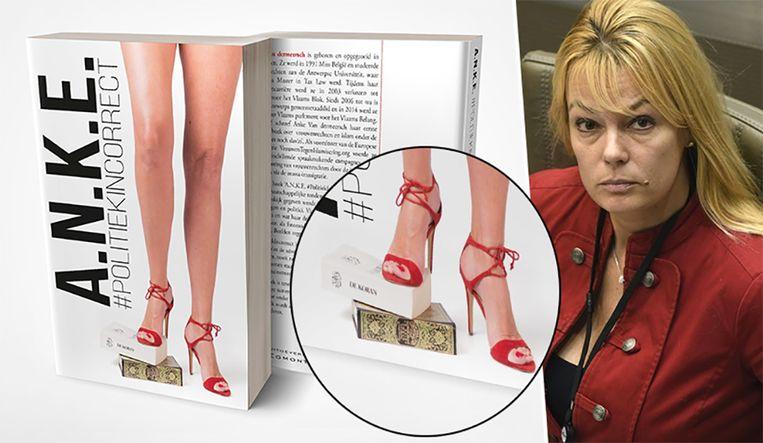Anke Van dermeersch staat met haar voeten op een koran op de cover van haar boek. Beeld Uitgeverij Egmont