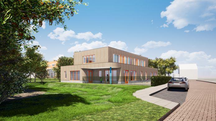 Een schets van het nieuwbouwplan van Columbus Junior op het terrein van basisschool De Es in Hellendoorn.