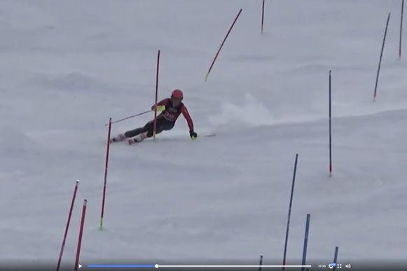 Sam Maes in actie op de slalom.
