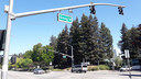 Een Google straatnaambord rond de campus in Mountain View