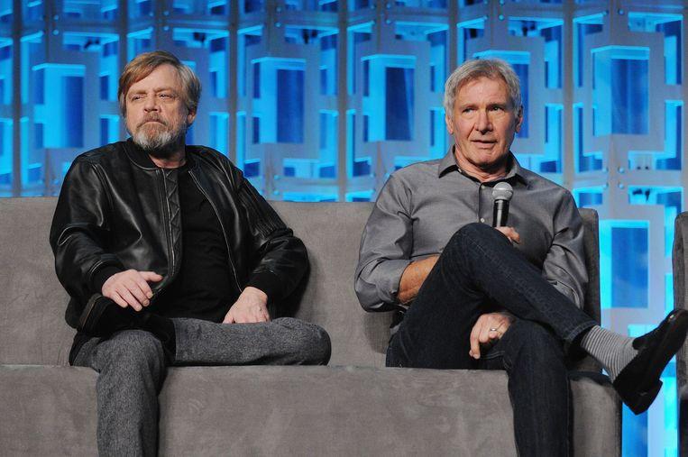 Mark Hamill en Harrison Ford tijdens het '40 YEARS OF STAR WARS PANEL' op Star Wars Celebration in Orlando, Florida. Beeld RV/©LucasFilm, 2017