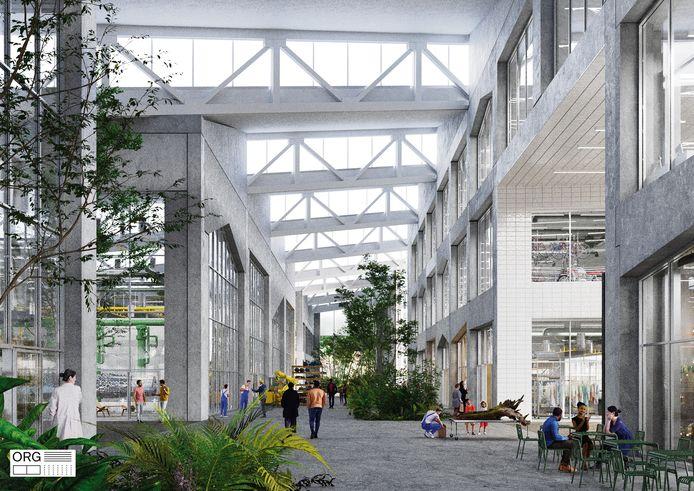 In de grote hallen zal veel ruimte voor groen zijn.